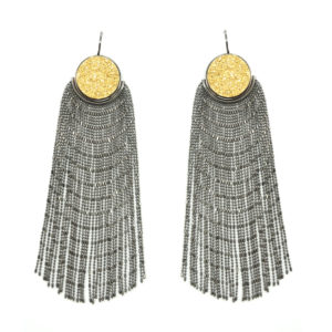 PIUMA Earrings | Black Silver & Gold Druzy_WEB_2