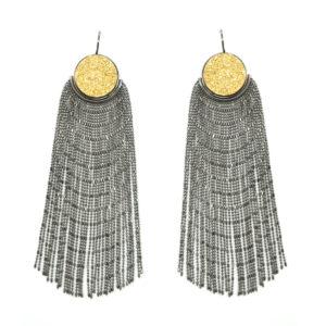 PIUMA Earrings | Black Silver & Gold Druzy_WEB_2