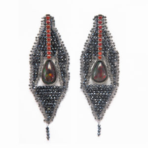 BLACK HARLEQUIN OPAL CONTRADA EARRINGS | Orange Sapphires
