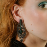 Black harlequin earrings
