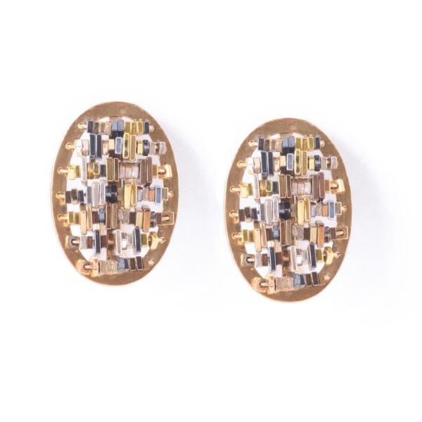 CODICE Oval Earrings Gold_5