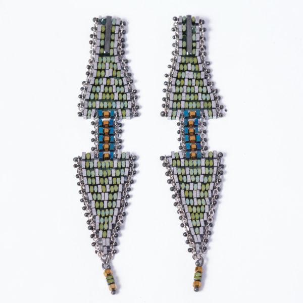 Doppio Freccia Small Earrings Blue & Green 3