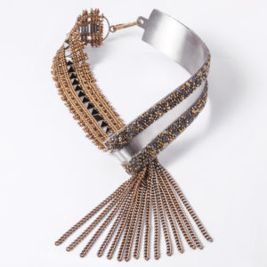 ICS2-9-G TRACCE Steel Ribbon Necklace   Gold_13