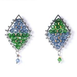 Kaleidescope Kite Earrings Green & Blue