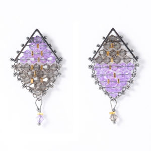 Kaleidoscope Kite Earrings Greige & Purple