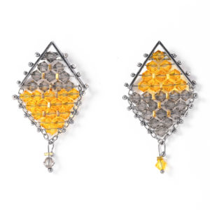 Kaleidoscope Kite Earrings Greige and sun flower