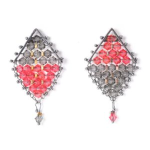 Kaleidoscope Kite Earrings Black & Red